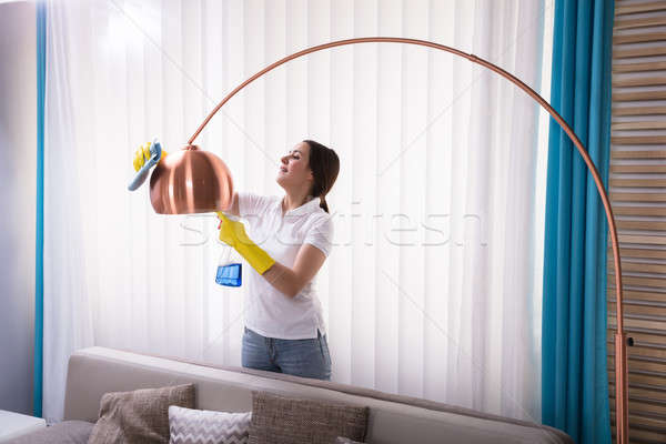 Woman Cleaning Electric Lamp With Spray Stock photo © AndreyPopov