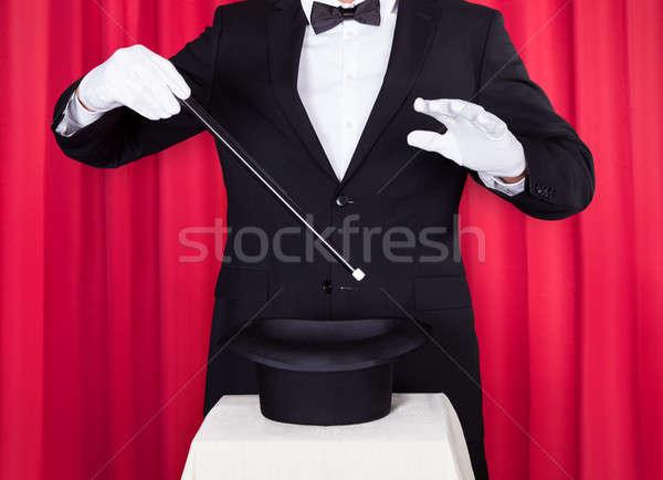 Büyücü siyah takım elbise boş üst şapka Stok fotoğraf © AndreyPopov