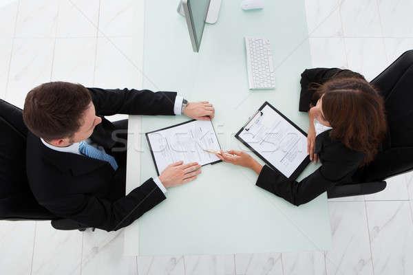 üzletasszony férfi jelölt iroda közvetlenül fölött Stock fotó © AndreyPopov