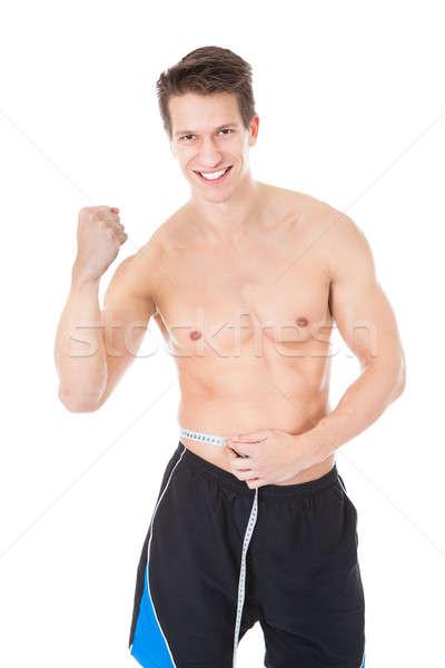 Foto stock: Moço · cintura · retrato · branco