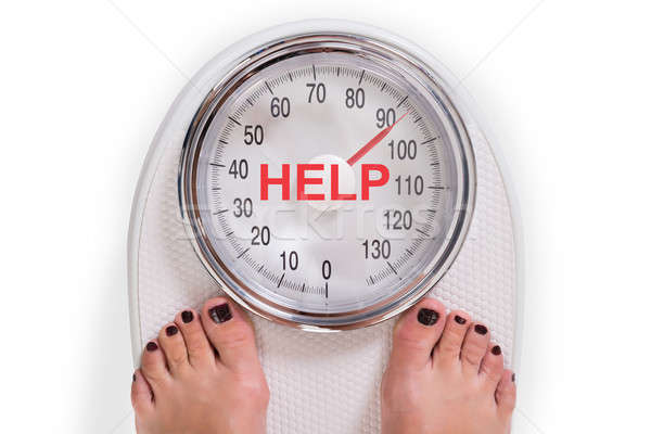 Low Section Of Woman On Weight Scale With Help Text Stock photo © AndreyPopov