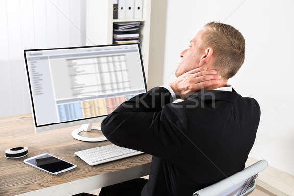Stockfoto: Zakenman · lijden · nek · pijn · jonge