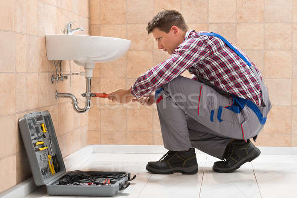 Young Male Plumber Fitting Sink Stock photo © AndreyPopov