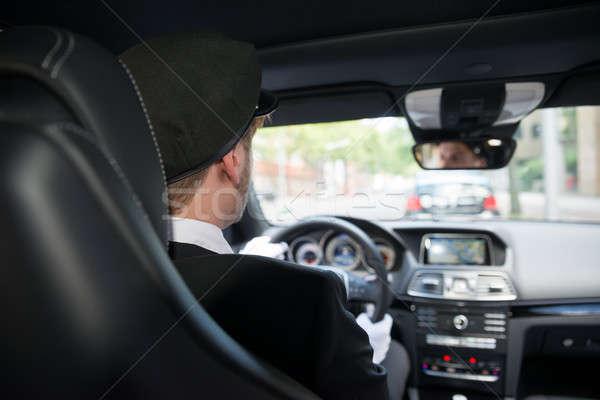Maschio autista auto vista posteriore guida business Foto d'archivio © AndreyPopov