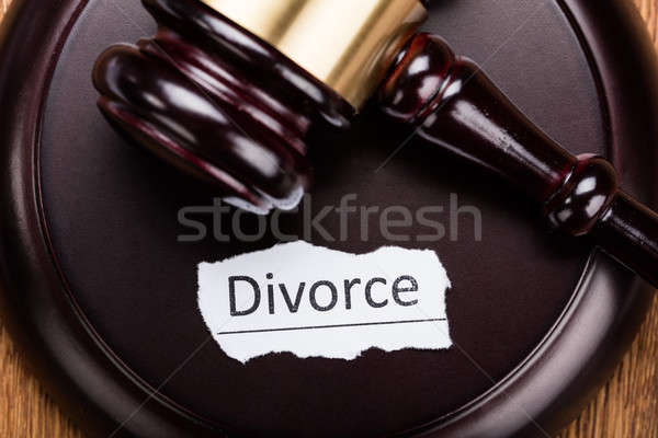 Divorce Concept On Wooden Mallet Stock photo © AndreyPopov