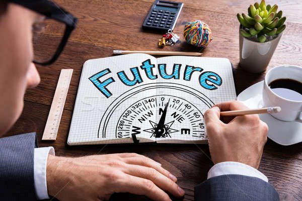 Jövő iránytű útmutatás férfi rajz papír Stock fotó © AndreyPopov