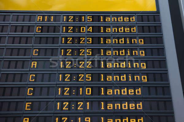 Flight information board in airport Stock photo © AndreyPopov
