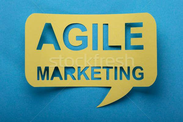 Agilis marketing szavak szövegbuborék kivágás kék Stock fotó © AndreyPopov