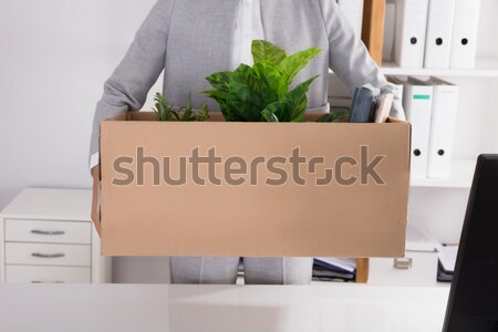Businessperson Carrying Cardboard Box With Belongings Stock photo © AndreyPopov
