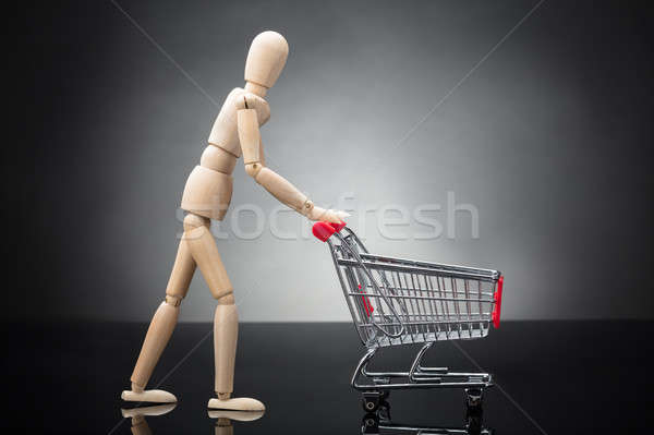 Wooden Dummy Pushing Shopping Cart Stock photo © AndreyPopov
