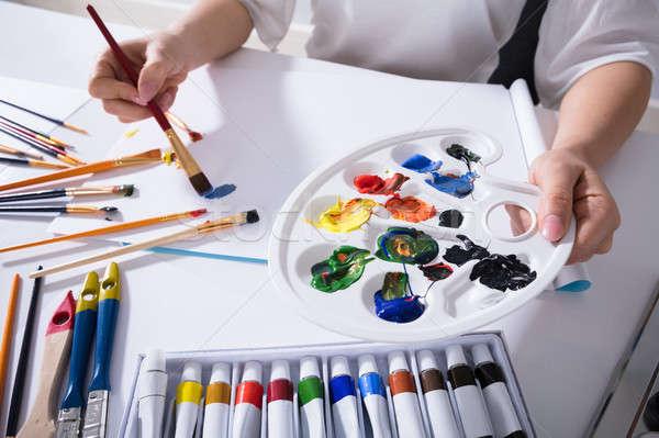 Artysty farby palety malarstwo płótnie Zdjęcia stock © AndreyPopov
