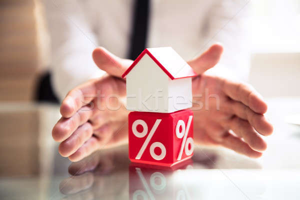 Protecting House Mode Over Cubic Clock With Percentage Symbol Stock photo © AndreyPopov