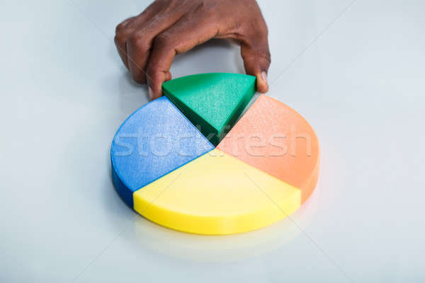 Human Hand Taking Green Piece Of Pie Chart Stock photo © AndreyPopov