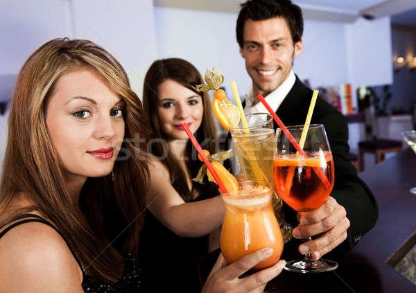 Ludzi nowego nightclub szkła pomarańczowy Zdjęcia stock © AndreyPopov