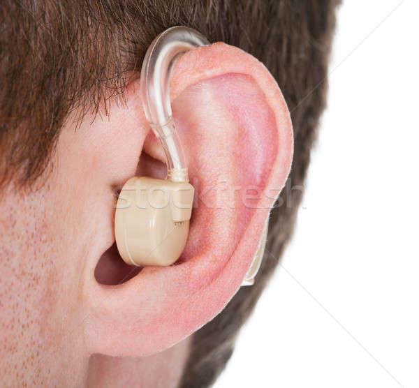 Hallókészülék fül közelkép férfi orvosi kommunikáció Stock fotó © AndreyPopov