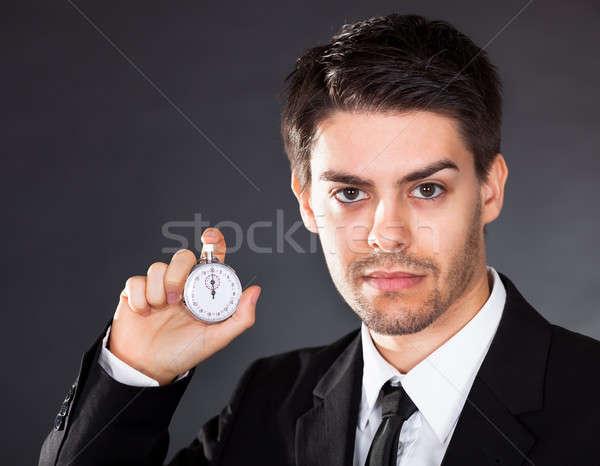 Stok fotoğraf: Iş · adamı · kronometre · el · adam · saat