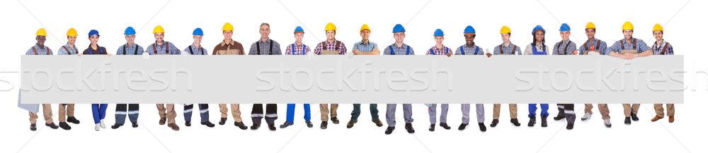 Werknemers billboard portret Stockfoto © AndreyPopov