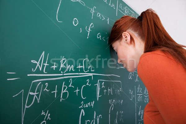 Stockfoto: Student · hoofd · Blackboard · klas · zijaanzicht