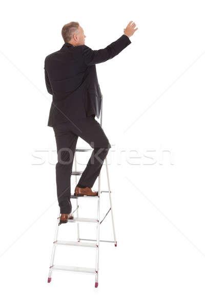 Zakenman klimmen ladder achteraanzicht volwassen Stockfoto © AndreyPopov