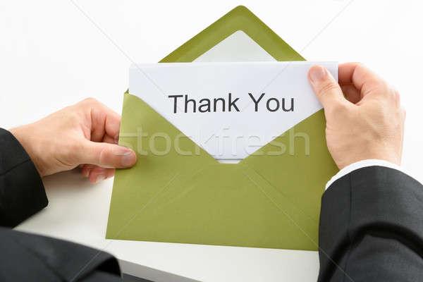 Empresário obrigado cartão verde envelope Foto stock © AndreyPopov