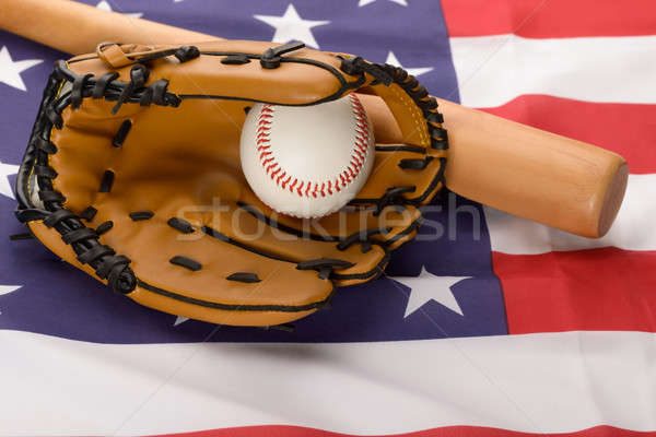 Leather Glove With Baseball And Baseball Bat Stock photo © AndreyPopov