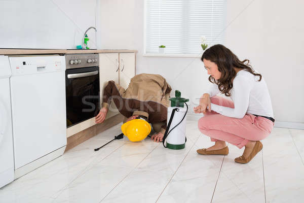 Woman And Worker With Pesticide Sprayer Stock photo © AndreyPopov