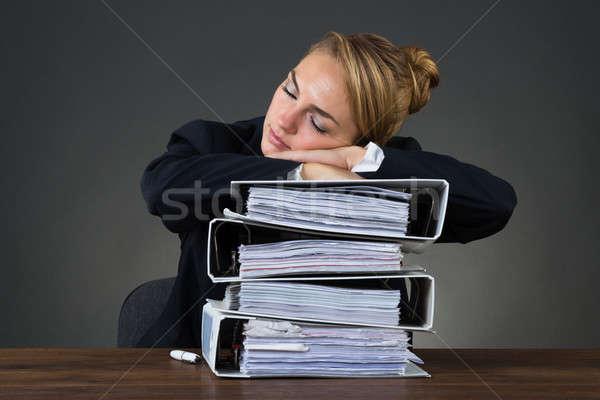 Imprenditrice dormire stanco suit nero Foto d'archivio © AndreyPopov