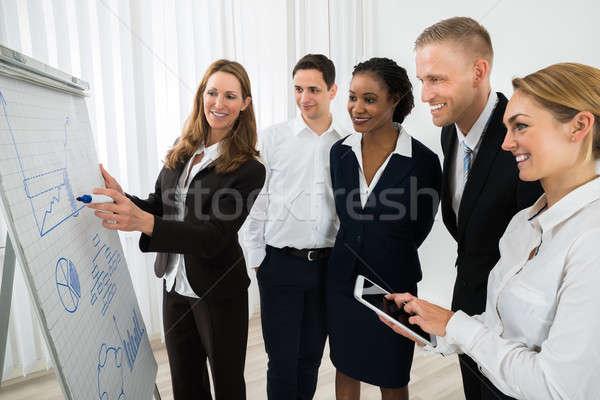 Menedzser magyaráz üzleti stratégia boldog női üzlet Stock fotó © AndreyPopov
