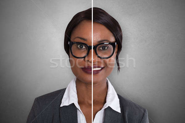 Businesswoman Showing Sad And Happy Emotions Stock photo © AndreyPopov