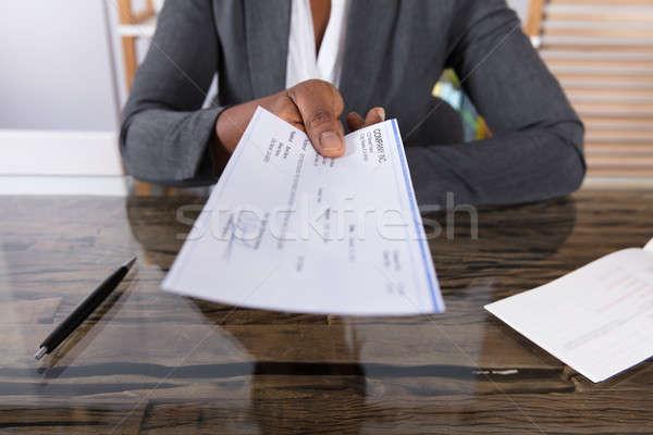 Menselijke hand cheque bureau business vrouw Stockfoto © AndreyPopov