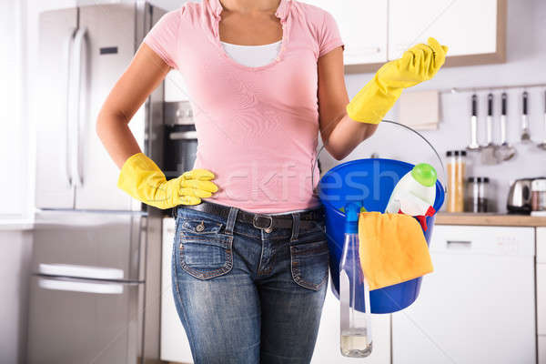 Woman Holding Cleaning Tools And Products Stock photo © AndreyPopov
