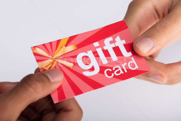 Twee gift card hand Stockfoto © AndreyPopov