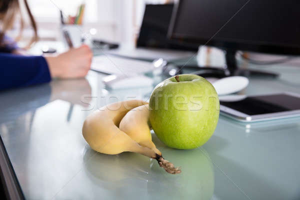Close-up Of Bananas And Green Apple Stock photo © AndreyPopov