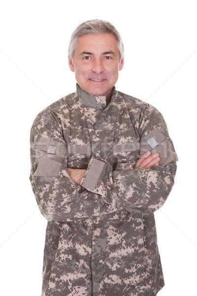 Stok fotoğraf: Mutlu · olgun · asker · yalıtılmış · beyaz · savaş