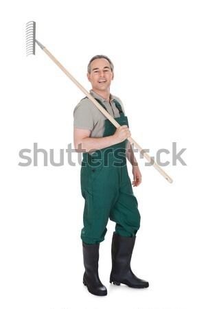 Stockfoto: Portret · volwassen · mannelijke · geïsoleerd · witte · glimlach