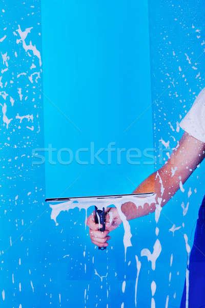 Kép szolgáló takarítás üveg férfi otthon Stock fotó © AndreyPopov