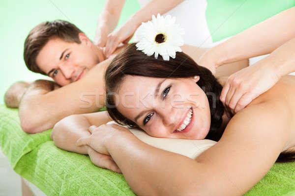 Coppia spalla massaggio spa ritratto sorridere Foto d'archivio © AndreyPopov