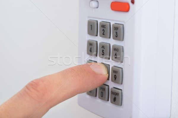 Foto stock: Eletrônico · chave · trancar · portas · mão