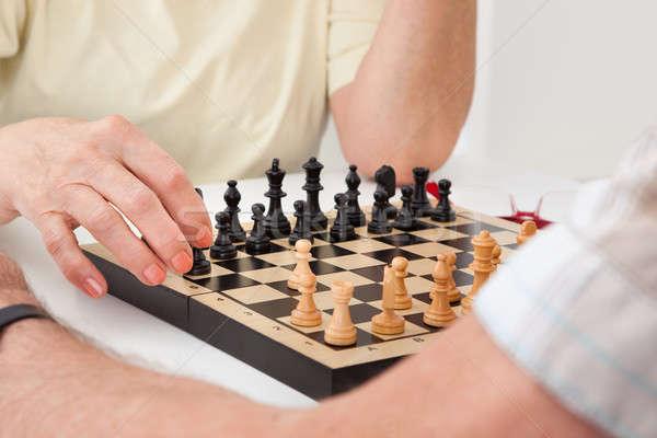 Foto stock: Pareja · de · ancianos · jugando · ajedrez · altos · mujer · marido