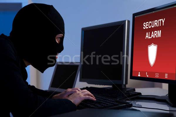 Betörő biztonság riasztó számítógép visel iroda Stock fotó © AndreyPopov