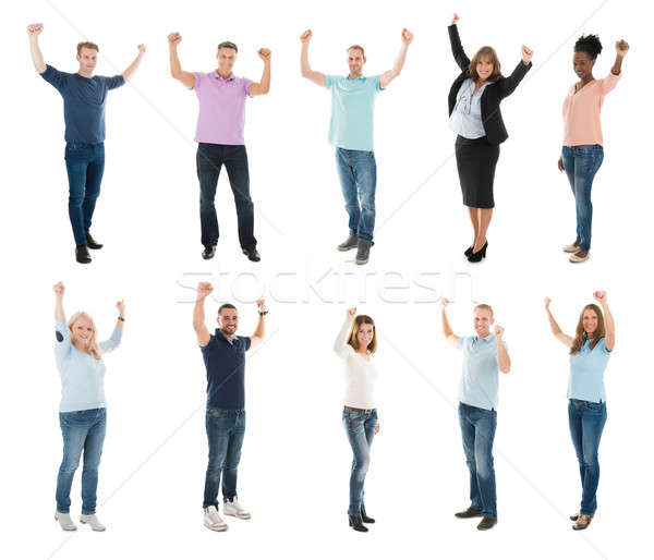 Collage Of Creative People Raising Arms Stock photo © AndreyPopov