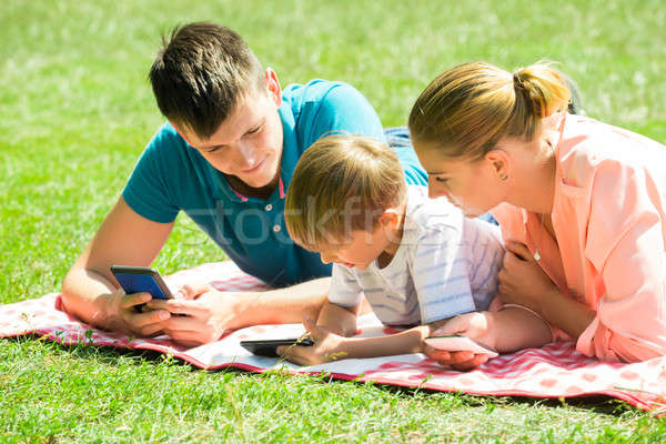 Family Laying Down In The Park With Their Smart Phones Stock photo © AndreyPopov