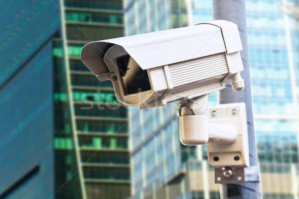 Biztonsági kamera kívül épület közelkép vállalati technológia Stock fotó © AndreyPopov