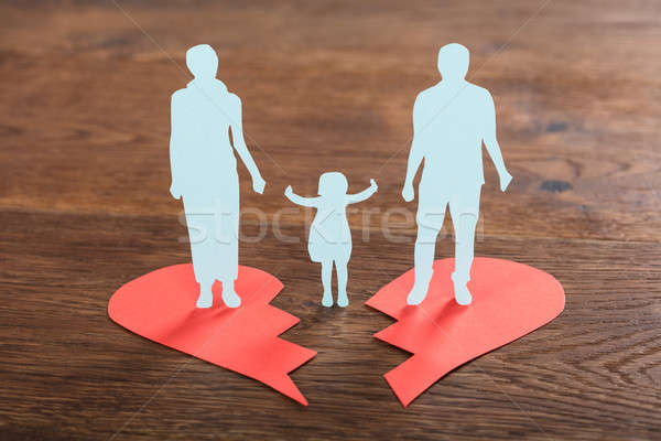 Family Paper Cut On Broken Heart Stock photo © AndreyPopov