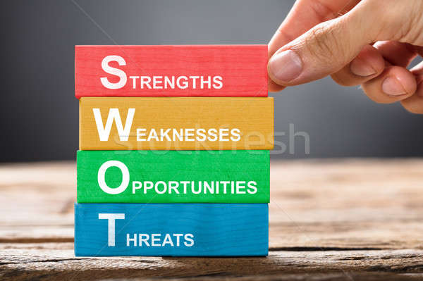 Hand Building Colorful SWOT Concept With Wooden Blocks Stock photo © AndreyPopov