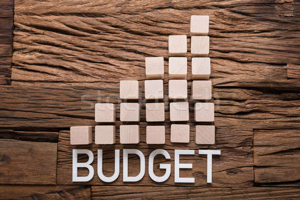 Budget Text By Increasing Bar Graph Blocks On Wood Stock photo © AndreyPopov
