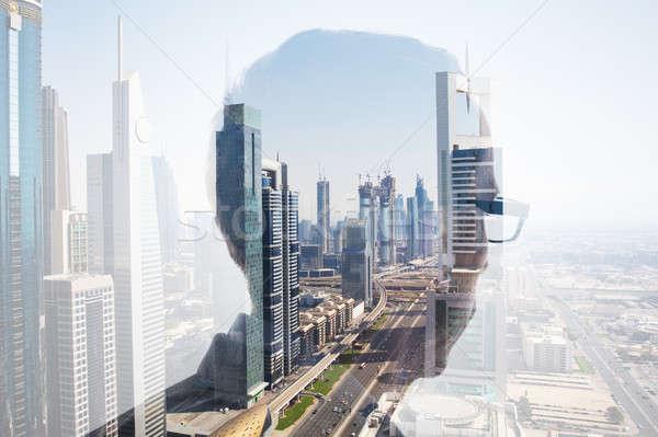 Podwoić ekspozycja głowie miasta okulary Zdjęcia stock © AndreyPopov