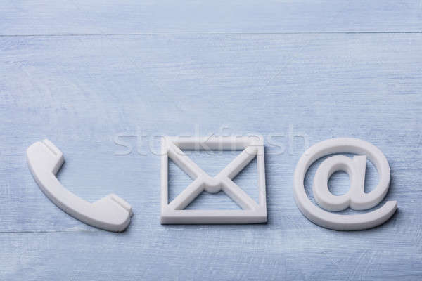High Angle View Of Phone, Email and Post Icons Stock photo © AndreyPopov