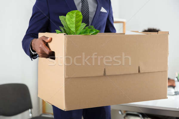 Businessperson Holding Belongings In Cardboard Box Stock photo © AndreyPopov