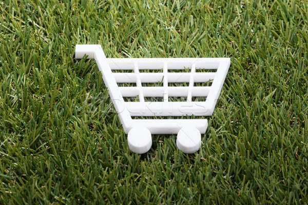 Elevated View Of White Shopping Cart Stock photo © AndreyPopov